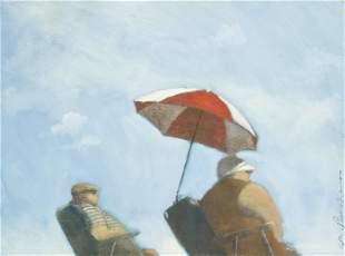 "Michael Paraskevas ""Beach Goers"" Oil on Canvas"
