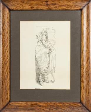 David Levine 1964 Signed Caricature of Figure