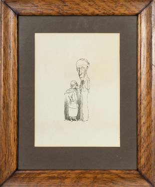 David Levine Signed Caricature of Two Figures