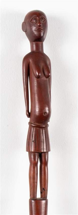 Folk Art Carved Wood Figural Effigy Cane