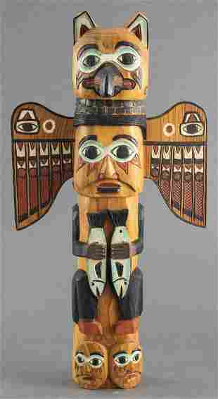 Signed Native American Totem Wall Hanging