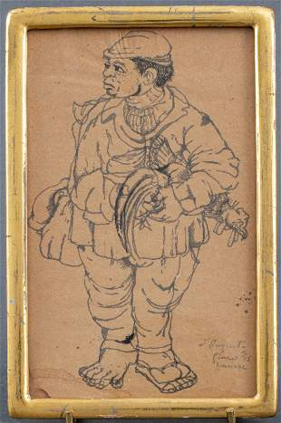 Illegibly Pencil Signed Ink & Wash Drawing, 1953