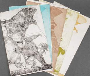Etching of Iguanas and Color Studies, 5 PCS.