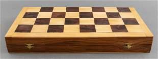 Folding Wooden Chess Set W/Polished Pieces, 35 PCS