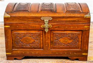Anglo Indian Carved Brass Inlaid Hardwood Chest