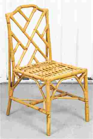 Chinese Chippendale Bamboo And Rattan Chair