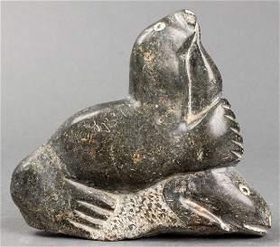 Inuit Carved Hardstone Sculpture of a Seal