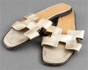 """Hermes Gold """"Oran"""" Leather Sandals, Size 39"""