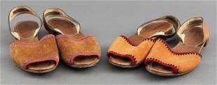 Prada Suede Wooden Sole Sandals, Size 39, 2 Pair