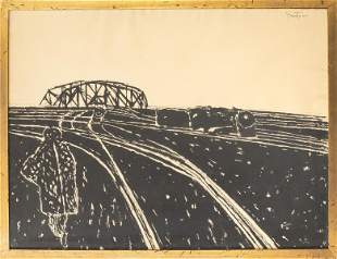 """Illegibly Signed """"Train Lines"""" Woodcut on Paper"""