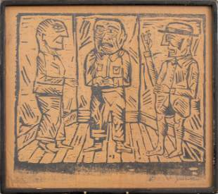 Jonah Kinigstein Pencil Signed Woodcut