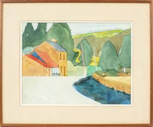 """Patrick Joseph O'Brien """"Landscape"""" Watercolor"""