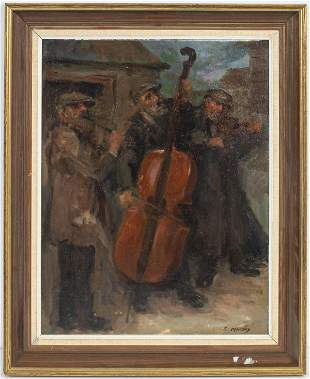 "S. Minsky ""Musical Trio"" Oil on Board"