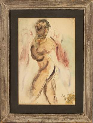 Illegibly Signed Modern Mixed Media Figure Drawing