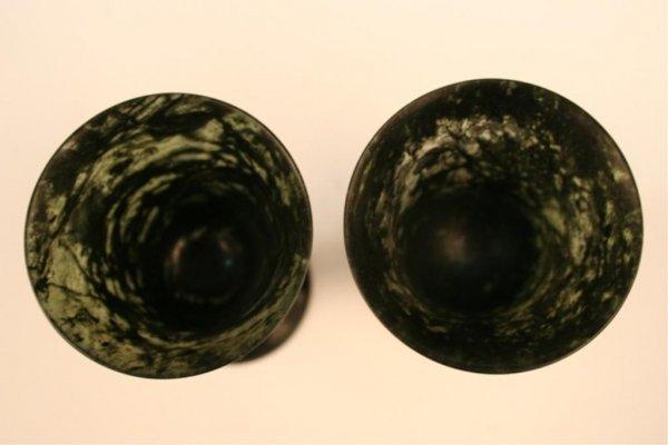 Pair of Mottled-Jade Cordial Glasses & Bowl