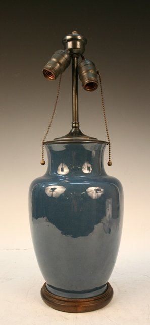Large Chinese Blue Porcelain Lamp 19th C.