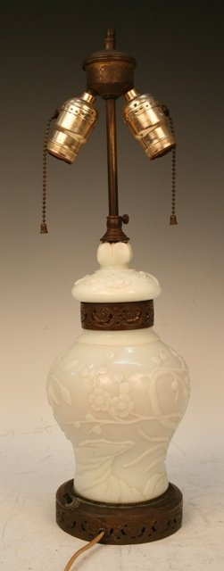 Chinese Peking Glass Lamp 19th Century