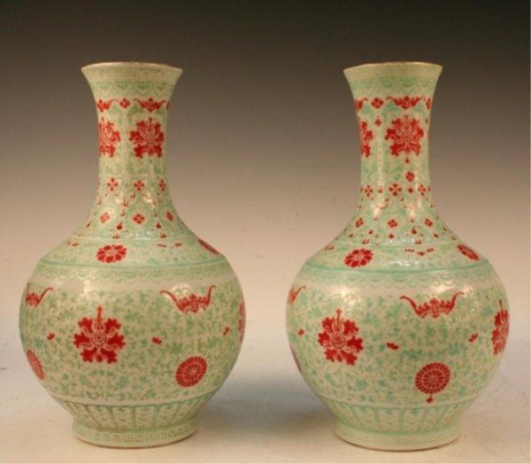 Pair Qing Chinese Qianlong Doucai Porcelain Vases