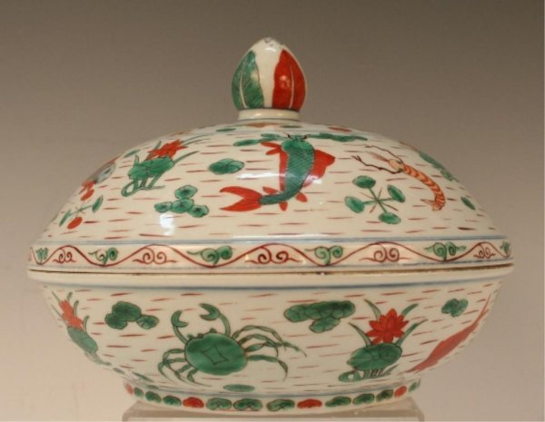 Qing Chinese Doucai Porcelain Lidded Bowl 19th C.