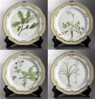 "Royal Copenhagen ""Flora Danica"" Dinner Plates, 4"