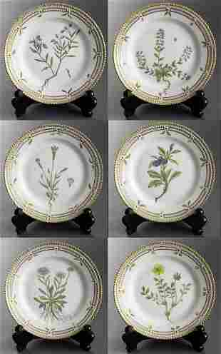 "Royal Copenhagen ""Flora Danica"" Salad Plates, 6"