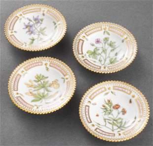 """Royal Copenhagen """"Flora Danica"""" Butter Pats, 4"""