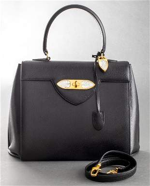 Lalique Black Leather & Glass Handbag