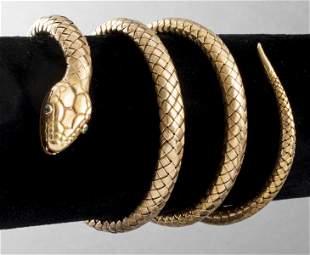 Antique Austrian 14K Gold & Emerald Snake Bracelet