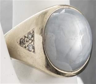 14K White Gold, Star Sapphire & Diamond Ring