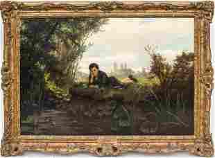 """Albert Gustav Schwartz """"Playing Truant"""" Oil"""