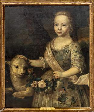 """English School """"Girl with Lamb"""" Oil on Canvas"""