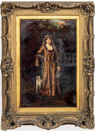 """Abbey Altson """"Woman with Dog"""" Oil on Canvas"""