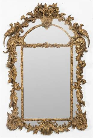 Large Rococo Style Carved Giltwood Mirror