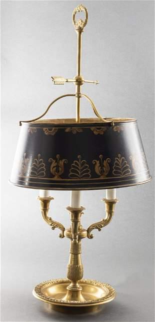 Empire Style Gilt Bronze Bouillotte And Tole Lamp