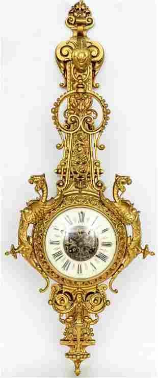 French Gilt Bronze Cartel Clock, 19th Century
