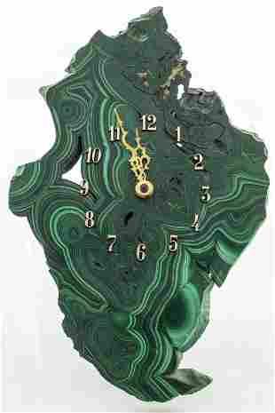 Malachite Specimen Slab Wall Clock
