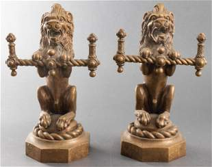 Bronze Figural Ornaments Modeled As Lions, Pair