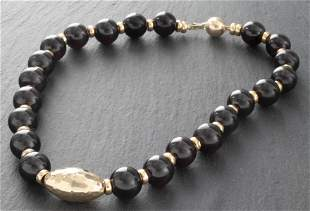 14K Yellow Gold & Gold-Tone Black Stone Necklace