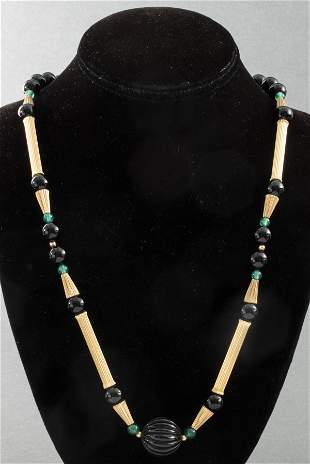 Attr. Cartier 14K Yellow Gold & Onyx Necklace