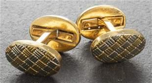 Vintage 18K Yellow & White Gold Oval Cufflinks