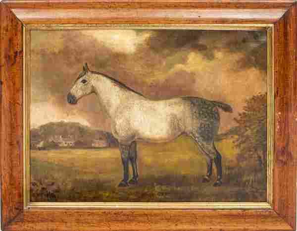"""British School """"Dolly Grey"""" Equestrian Oil, 19th C"""