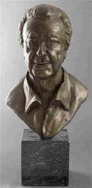 """Marilyn Weinstein """"Shelly"""" Bronze Bust of Man"""