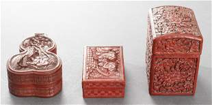 Chinese Carved Cinnabar Lacquer Boxes, 3
