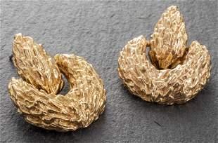 14K Yellow Gold Textured Door Knocker Earrings