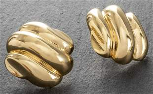 Vintage 14K Yellow Gold Large Ribbed Post Earrings