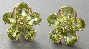 14K Yellow Gold Peridot Flower Earrings