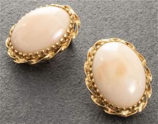 14K Yellow Gold Oval Angel Skin Coral Earrings