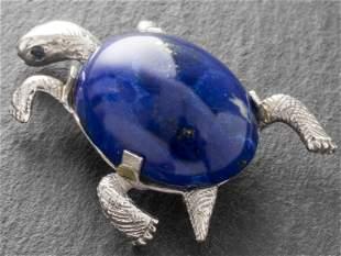 Vintage 14K White Gold Lapis Turtle Brooch / Pin