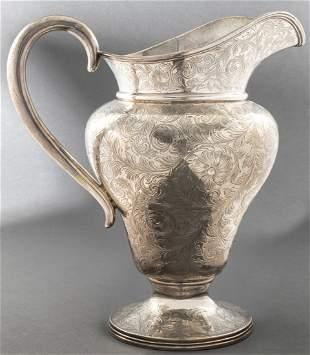 Davis & Galt Engraved Silver Water Pitcher