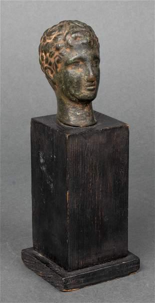 Hellenistic Bronze Man's Head Artifact
